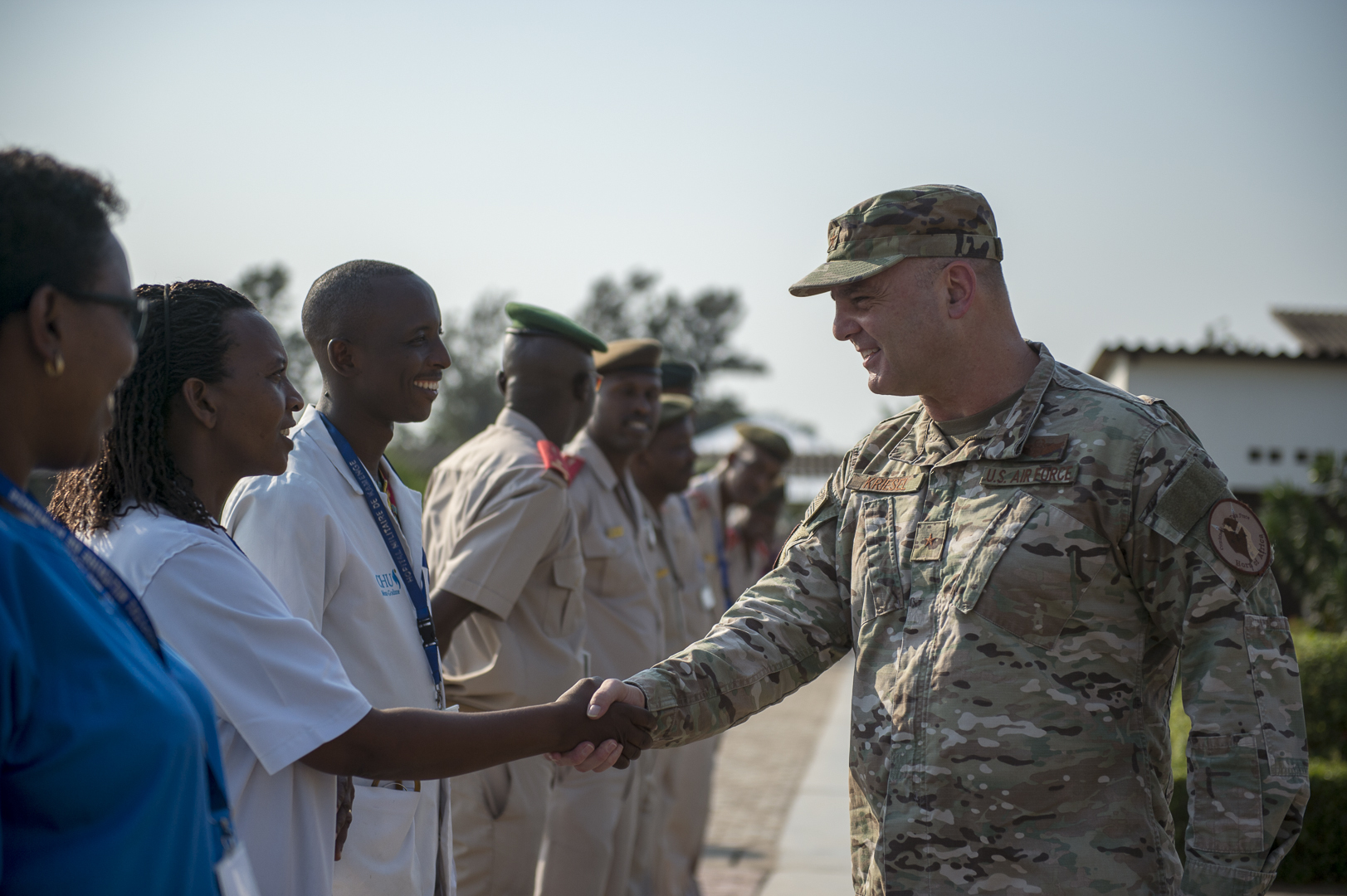 U.S. Air Force Brig. Gen. James R. Kriesel, deputy commanding general of Combined Joint Task Force-Horn of Africa, meets with doctors at Kamenge Military Hospital in Bujumbura, Burundi, July 18, 2019. The hospital has 30 specialists, 25 medical doctors and almost 250 nurses and technicians, and relies on medical and information exchanges with partner nations, including the United States, to stay ahead of the spread of Ebola. (U.S. Air Force Photo by Senior Airman Codie Trimble)