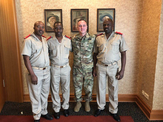 U.S. Army Command Sgt. Maj. Shawn Carns, command senior enlisted leader (SEL), Combined Joint Task Force-Horn of Africa, poses for a photo with SELs from the Burundi National Defence Force during the Africa Senior Enlisted Leader Conference in Garmisch-Partenkirchen, Germany, August 14, 2019. Carns was among a group of 63 SELs from 27 African countries, five component SELs and numerous other SELs who attended the conference, which focused topics such as team building, empowering non-commissioned officers, strategic outlook on enlisted development, curriculum development, and women, peace and security. (Courtesy photo)