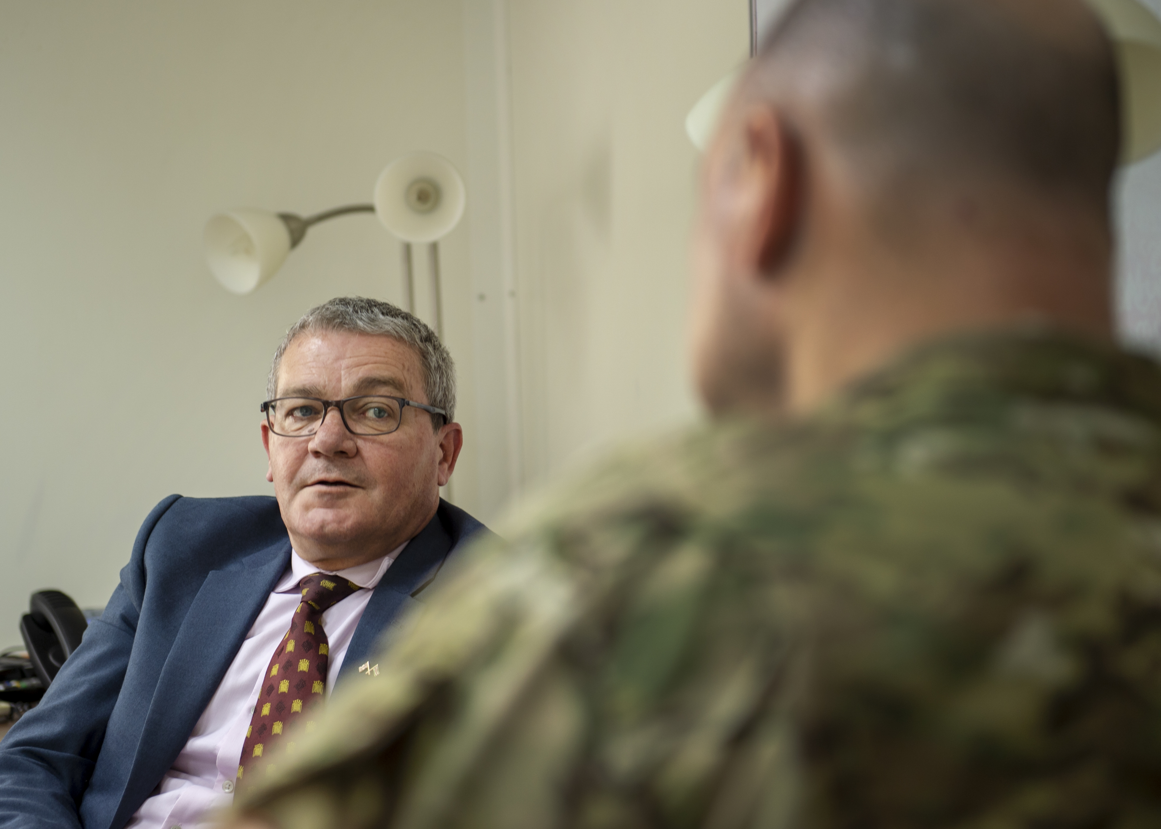 U.S. Air Force Brig. Gen. James R. Kriesel, deputy commanding general of Combined Joint Task Force-Horn of Africa (CJTF-HOA), meets with Charles Moore, deputy head of mission assigned to the British Embassy in South Sudan, in Juba, South Sudan, Aug. 15, 2019. Kriesel and Moore discussed the capabilities CJTF-HOA can bring to the British Embassy in South Sudan. (U.S. Air Force Photo by Senior Airman Codie Trimble)