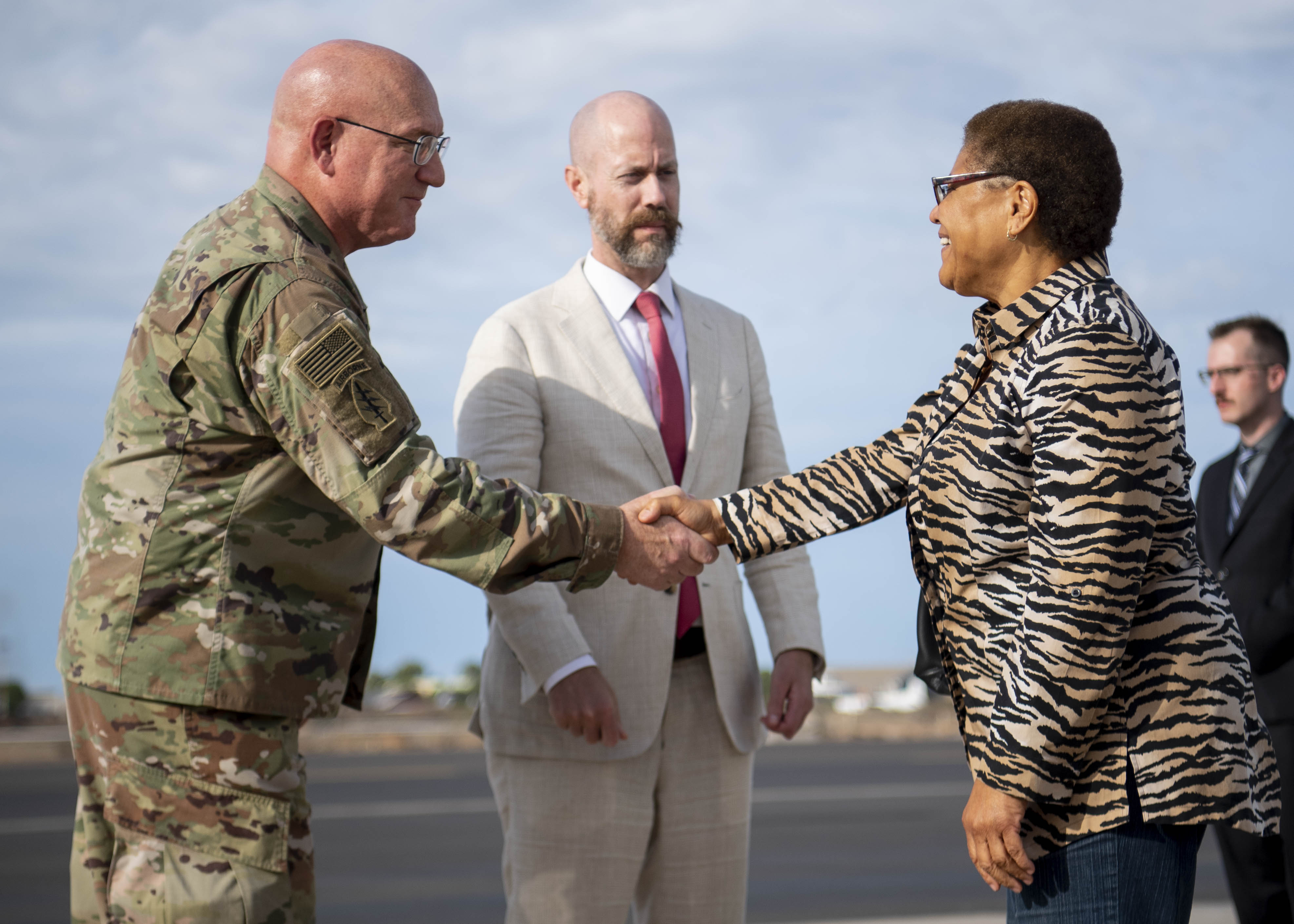 U.S. Army Maj. Gen. Michael Turello, commanding general, Combined Joint Task Force-Horn of Africa (CJTF-HOA), greets Rep. Karen Bass (D-Calif.) at Camp Lemonnier, Djibouti, Oct. 1, 2019. Bass visited Djibouti to promote U.S. Government and host nation partnerships in the region. (U.S. Air Force photo by Staff Sgt. J.D. Strong II)
