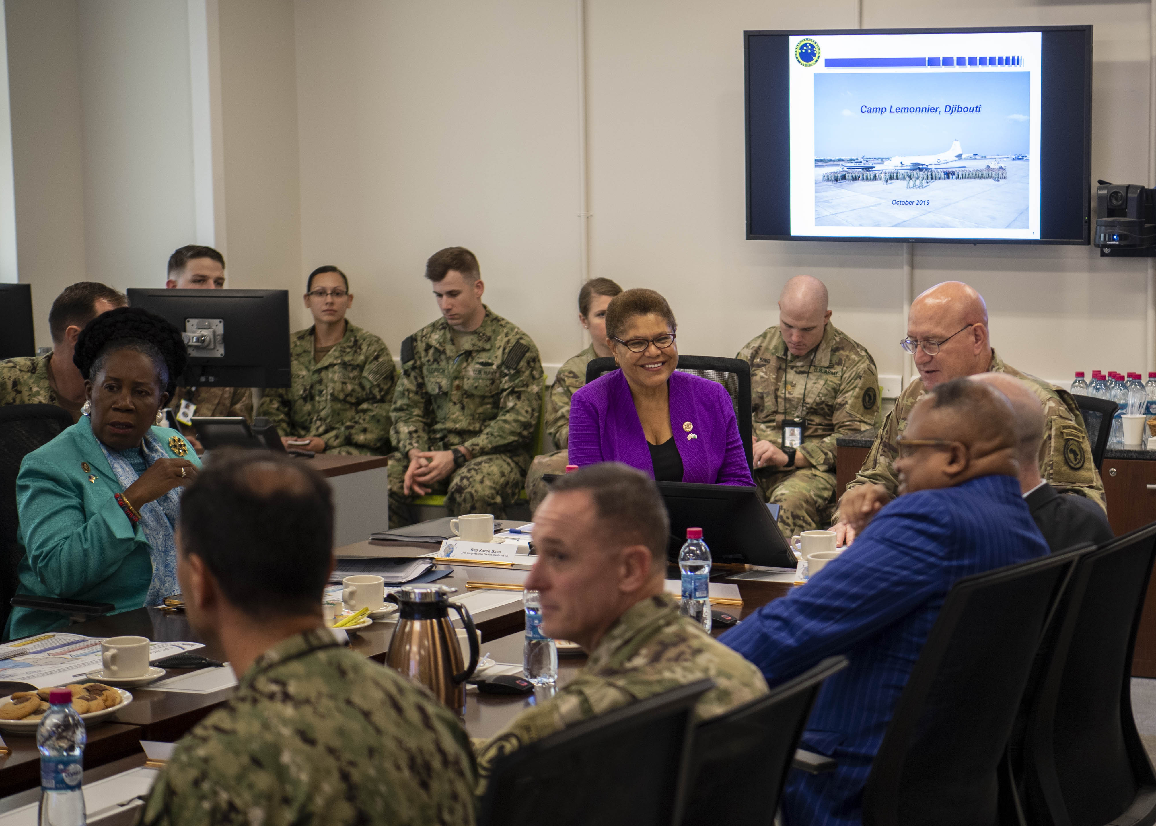 U.S. Army Maj. Gen. Michael Turello, commanding general, Combined Joint Task Force-Horn of Africa (CJTF-HOA), briefs Rep. Karen Bass (D-Calif.) about the CJTF-HOA mission at Camp Lemonnier, Djibouti, Oct. 1, 2019. Bass visited Djibouti to promote U.S. Government and host nation partnerships in the region. (U.S. Air Force photo by Staff Sgt. J.D. Strong II)