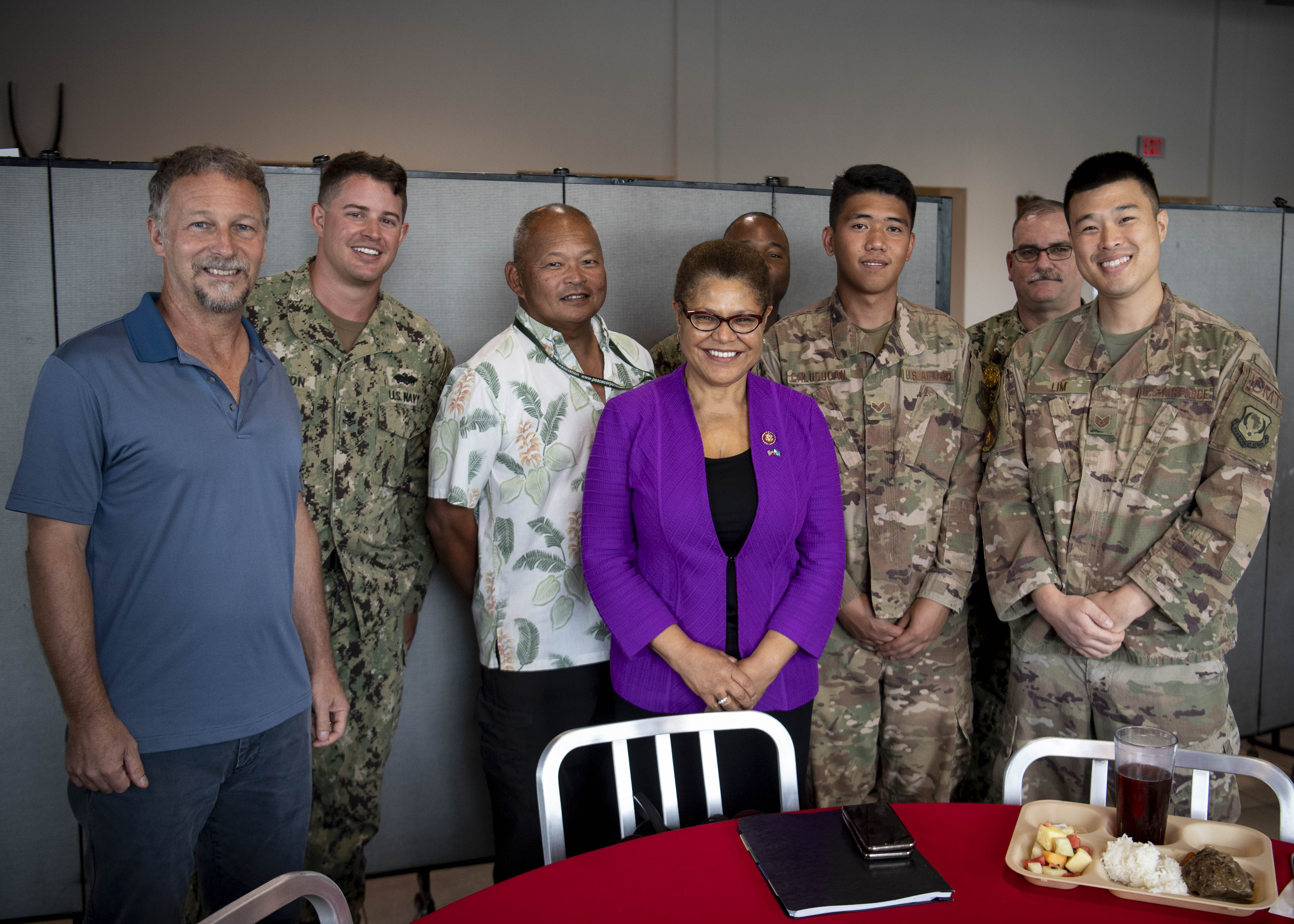 Rep. Karen Bass (D-Calif.) poses for a photo with service members from California at Camp Lemonnier, Djibouti, Oct. 2, 2019. Bass visited Djibouti to promote U.S. Government and host nation partnerships in the region. (U.S. Air Force photo by Staff Sgt. J.D. Strong II)