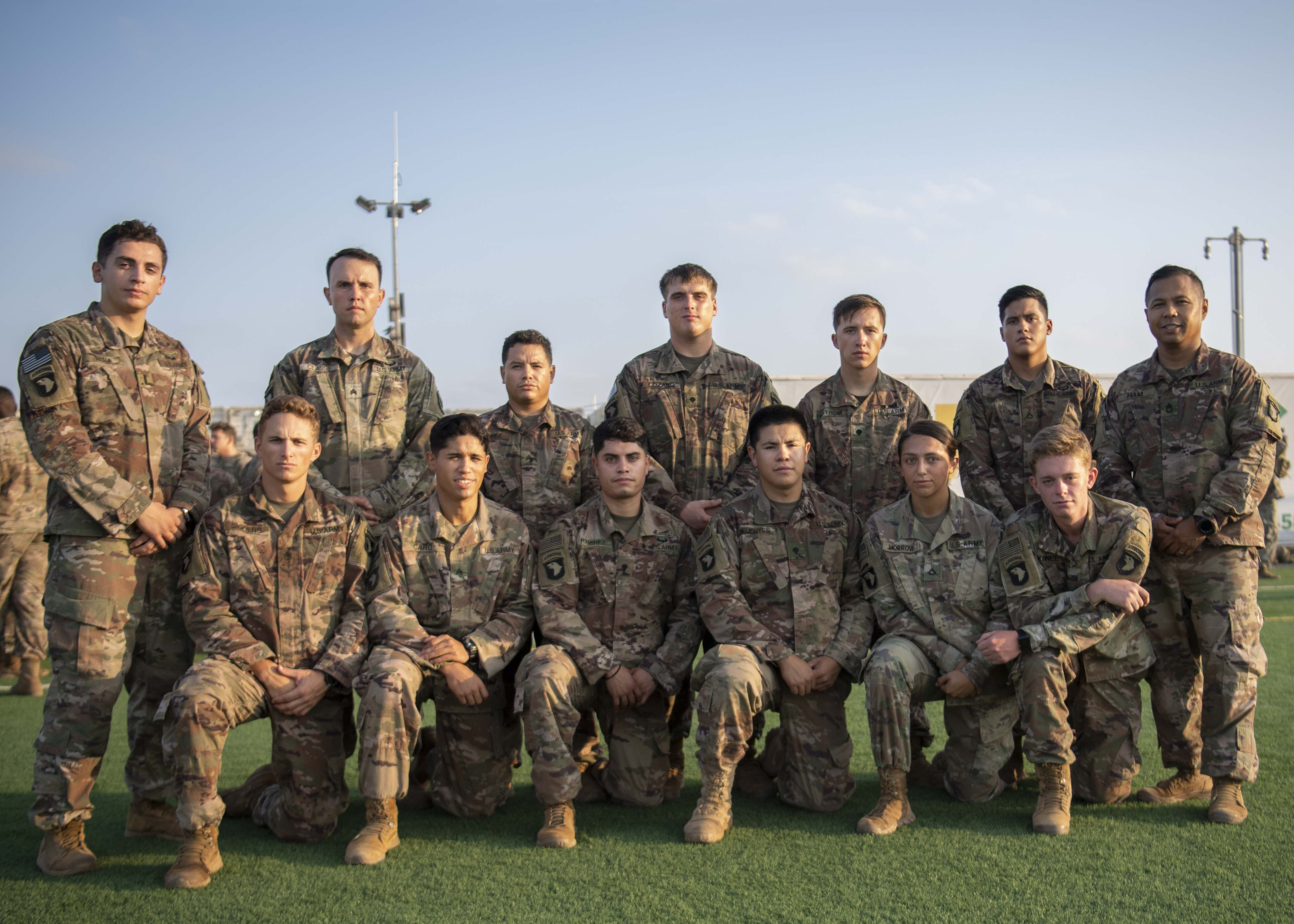 U.S. Army Soldiers from the 101st Division, 2nd Battalion, 506th Infantry Regiment, 4th Platoon, East African Response Force (EARF), pose for a group photo after the EARF's best platoon competition at Camp Lemonnier, Djibouti, Oct. 25, 2019. 4th Platoon was the winner of the EARF's best platoon competition. (U.S. Air Force photo by Staff Sgt. J.D. Strong II