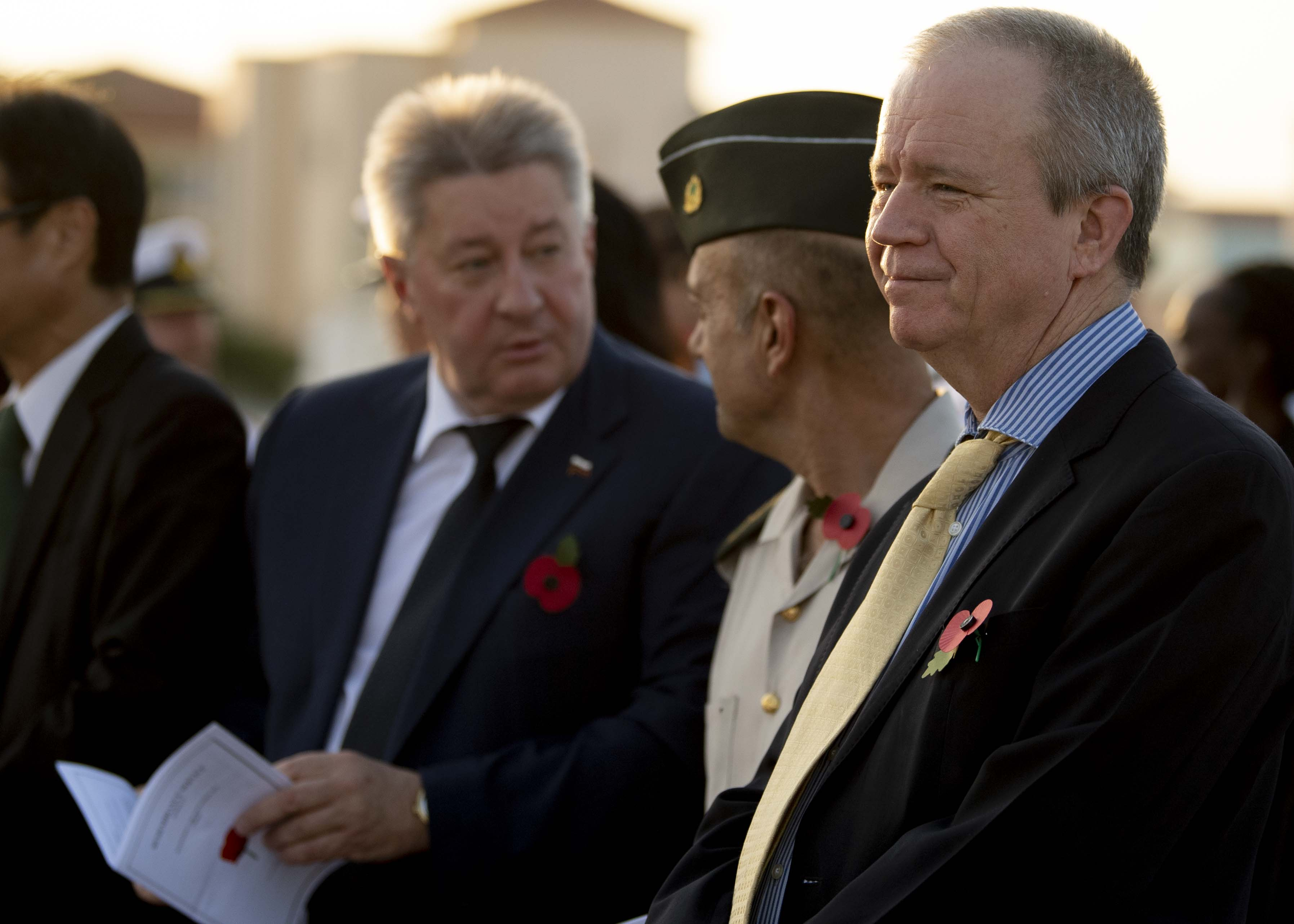 Amb. Larry André Jr., U.S. Ambassador to the Republic of Djibouti, waits for a Remembrance Day service to begin in Djibouti City, Djibouti, Nov. 13, 2019. Traditionally observed on November 11, Remembrance Day commemorates the day hostilities stopped on the western front during World War I. (U.S. Air Force photo by Staff Sgt. J.D. Strong II)