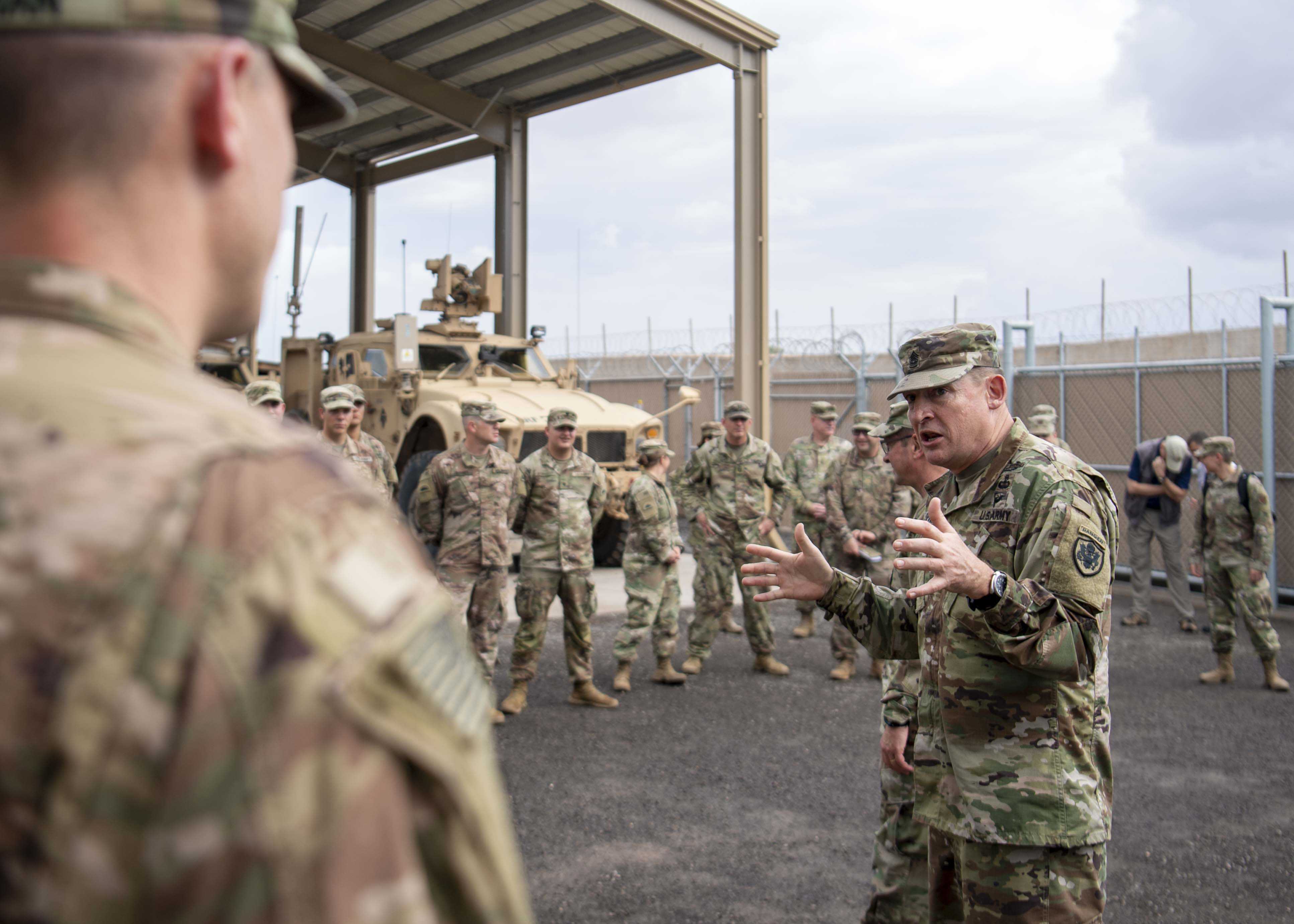 U.S. Army Command Sgt. Maj. Christopher Kepner, senior enlisted advisor to the Chief, National Guard Bureau, speaks to U.S. soldiers assigned to Combined Joint Task Force-Horn of Africa, Task Force-Guardian at Camp Lemonnier, Djibouti, Nov. 28, 2019. Kepner visited Camp Lemonnier to meet with deployed National Guardsmen and other service members. (U.S. Air Force photo by Staff Sgt. J.D. Strong II)