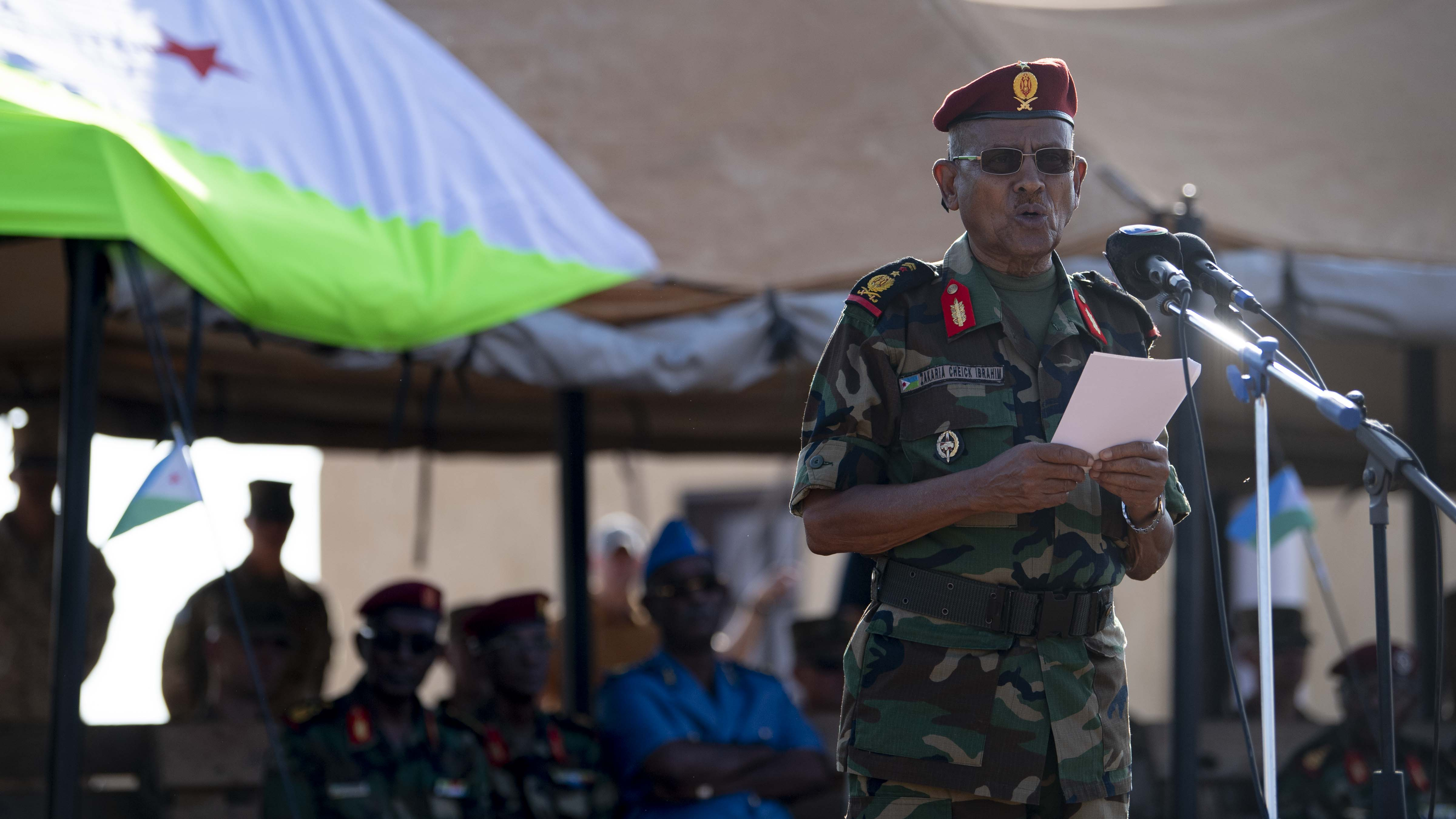 Djiboutian Lt. Gen. Zakaria Cheikh Ibrahim, chief of staff of the Djibouti Armed Forces, provides remarks during the Rapid Intervention Battalion (RIB) change of command, in Djibouti, Oct. 31, 2019. Djiboutian Maj. Mohamed Assowen assumed command of the RIB from Djiboutian Capt. Omar Ali Hassan. (U.S. Air Force photo by Staff Sgt. J.D. Strong II)