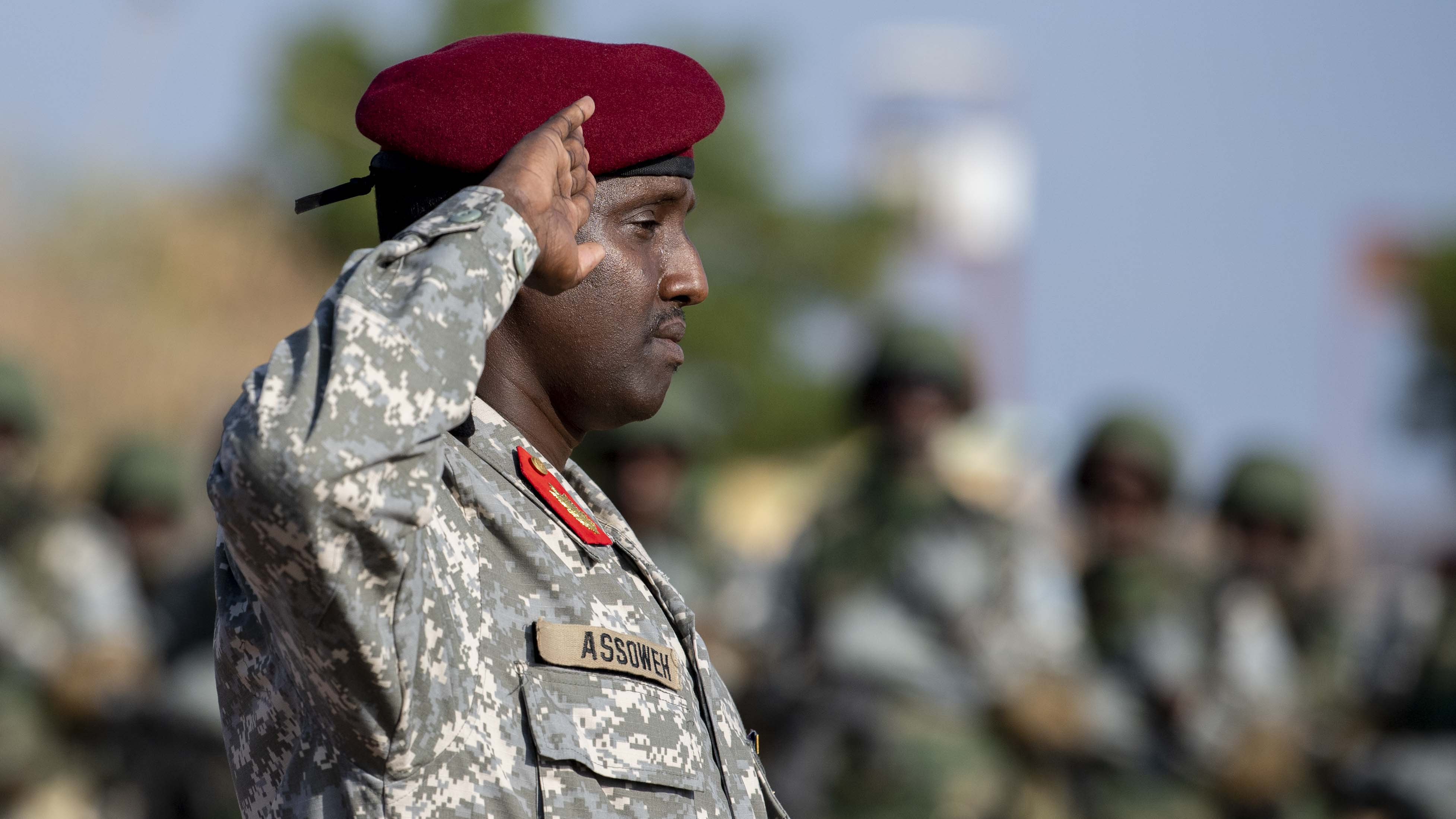 Djiboutian Maj. Mohamed Assowen, commander of the Rapid Intervention Battalion renders his first salute during the (RIB) change of command, in Djibouti, Oct. 31, 2019. Assowen assumed command of the RIB from Djiboutian Capt. Omar Ali Hassan. (U.S. Air Force photo by Staff Sgt. J.D. Strong II)