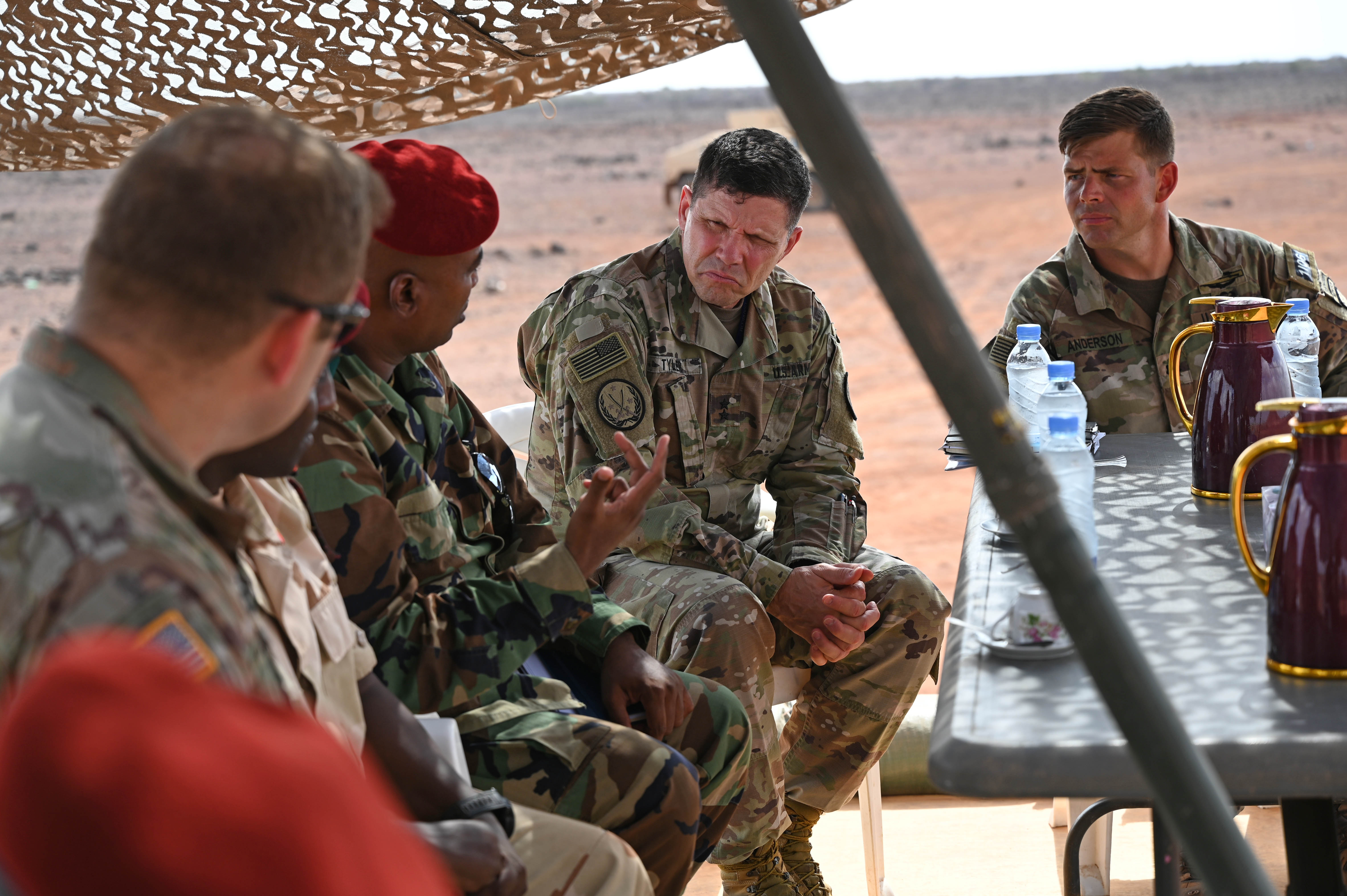 U.S. Army Major General Lapthe C. Flora, commanding general of Combined Joint Task Force - Horn of Africa (CJTF-HOA), attends partner force dinner in Mogadishu, Somalia, Aug. 8, 2020. (U.S. Air Force photo by Senior Airman Kristen A. Heller)